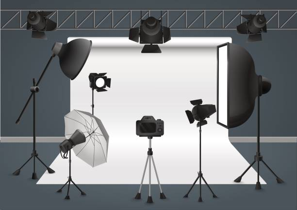 Bекторная иллюстрация Photo studio with camera, lighting equipment flash spotlight, softbox and background. Vector illustration.
