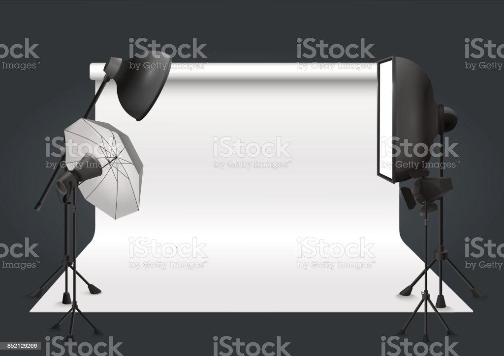 Photo studio with lighting equipment and background. Vector illustration. векторная иллюстрация