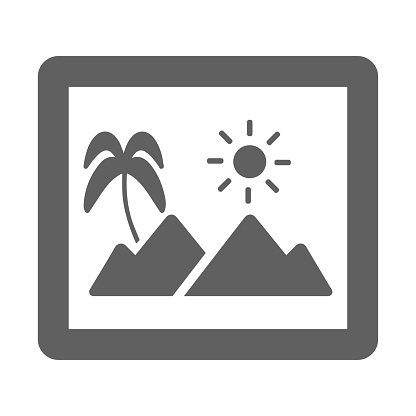 Photo, travel, vacation icon. Gray vector isolated on a white background