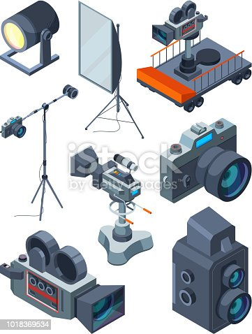 Photo video cameras. Various equipment of video or photo studio. Photography professional device. tripod and cart, screen and camcorder, vector illustration