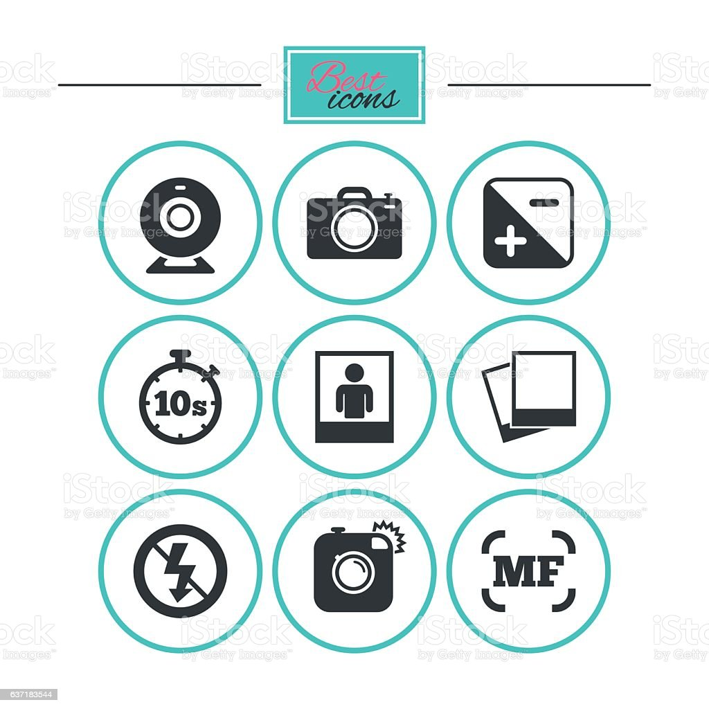 Photo, video icons. Camera, photos and frame. vector art illustration