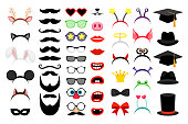 Photobooth party elements. Vector funny face masks and clown nose and glasses, vintage party hats and birthday costume bunny ears isolated on white background