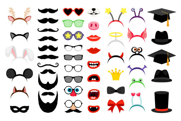 photobooth party funny elements - okulary stock illustrations