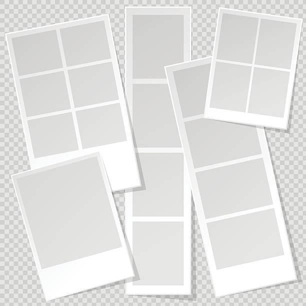fotoecke foto frame-vorlagen mit scharfen transparente schatten. - bildformate stock-grafiken, -clipart, -cartoons und -symbole