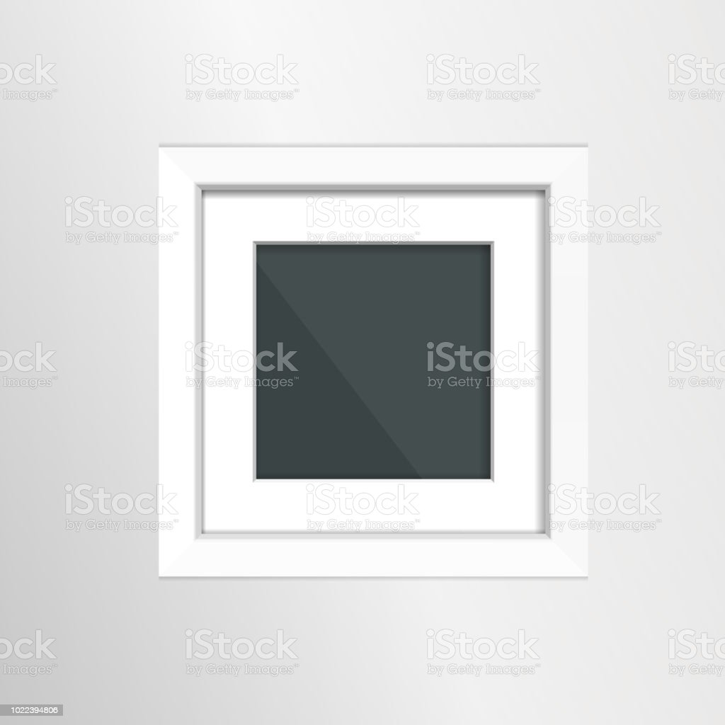 Photoframe Mock Up On The Wall Simple White Empty Framing Template ...