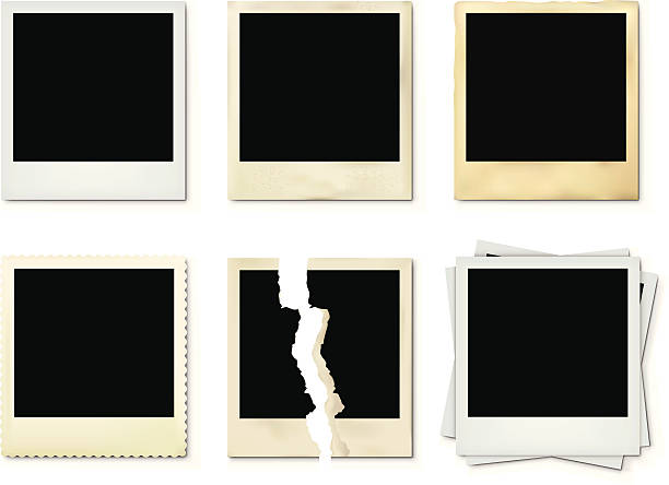 Photoframes Set of Photoframes on white background. polaroid frame stock illustrations