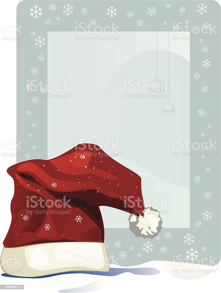 Photo-frame-with-Santa-Claus-cap royalty-free photoframewithsantaclauscap stock vector art & more images of backgrounds