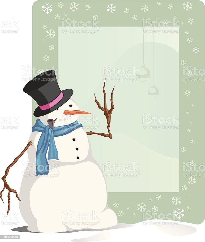 Photo-frame-with-snowman vector art illustration