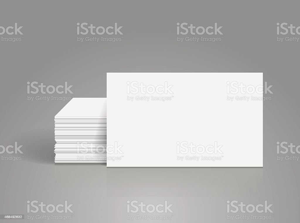 A photograph image of blank white business cards, stacked up vector art illustration