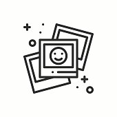 Photograph line outline icon. Photo, picture, photography, snapshot sign. Vector simple linear design. Illustration. Flat symbols. Thin element