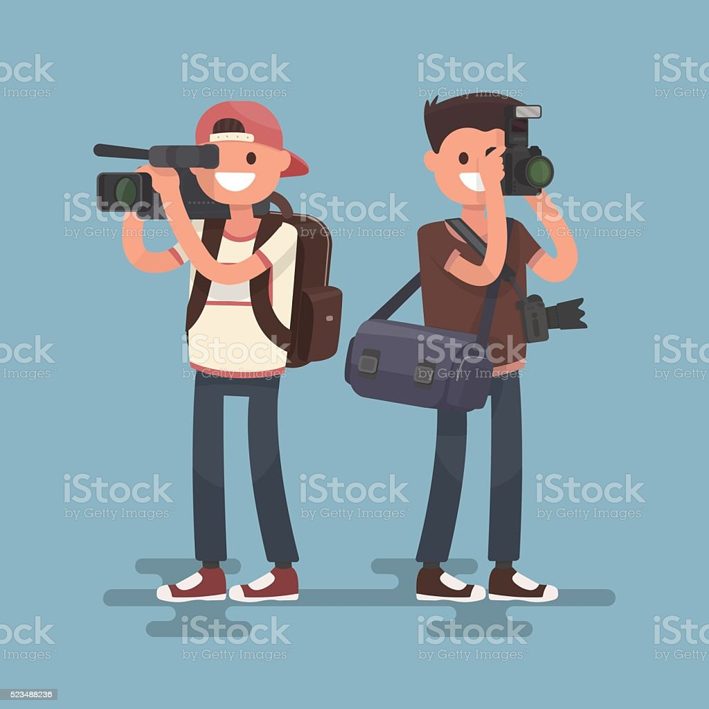 Photographer and videographer. Services of video and photography. vector art illustration
