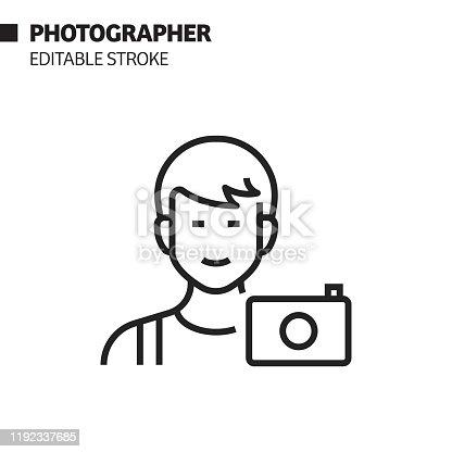 istock Photographer Avatar Line Icon, Outline Vector Symbol Illustration. Pixel Perfect, Editable Stroke. 1192337685