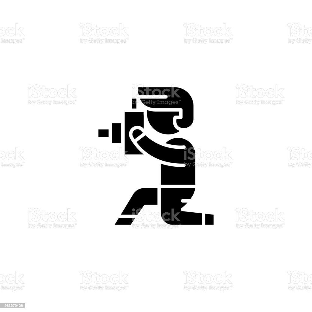 Photographer black icon concept. Photographer flat  vector symbol, sign, illustration. vector art illustration