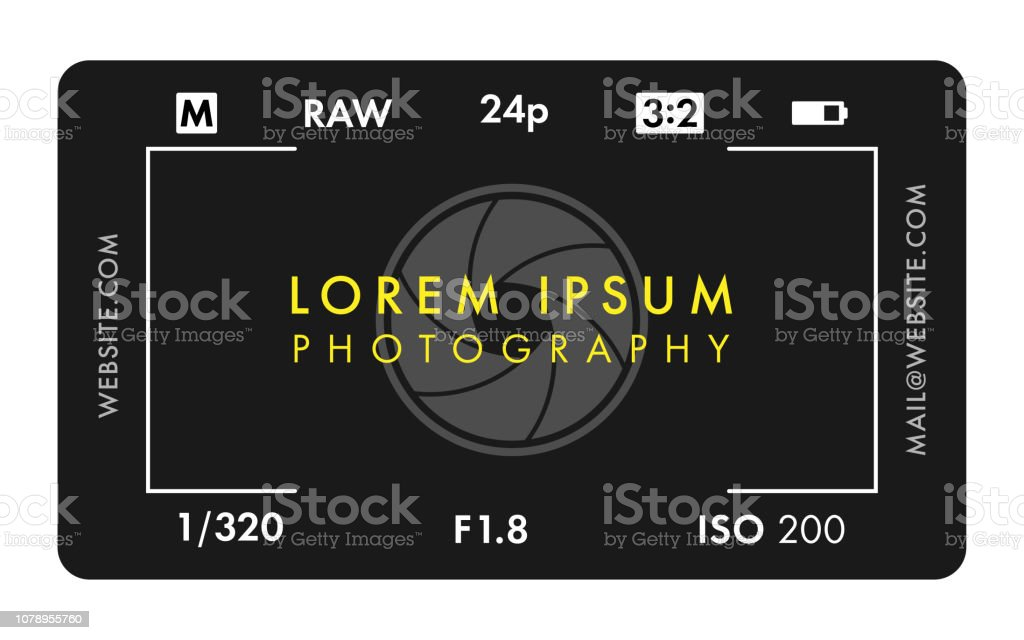 Photographer Business Card with Camera Screen and Aperture - Royalty-free Advertisement stock vector