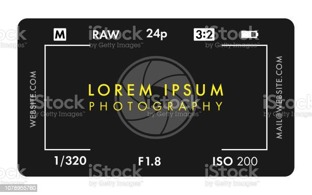Photographer Business Card With Camera Screen And Aperture Stock Illustration - Download Image Now