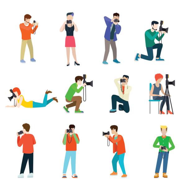 photographer cameraman flat web infographic concept vector professional people profession icon set. group creative young male female making photo studio outdoor travel. - fotografika stock illustrations