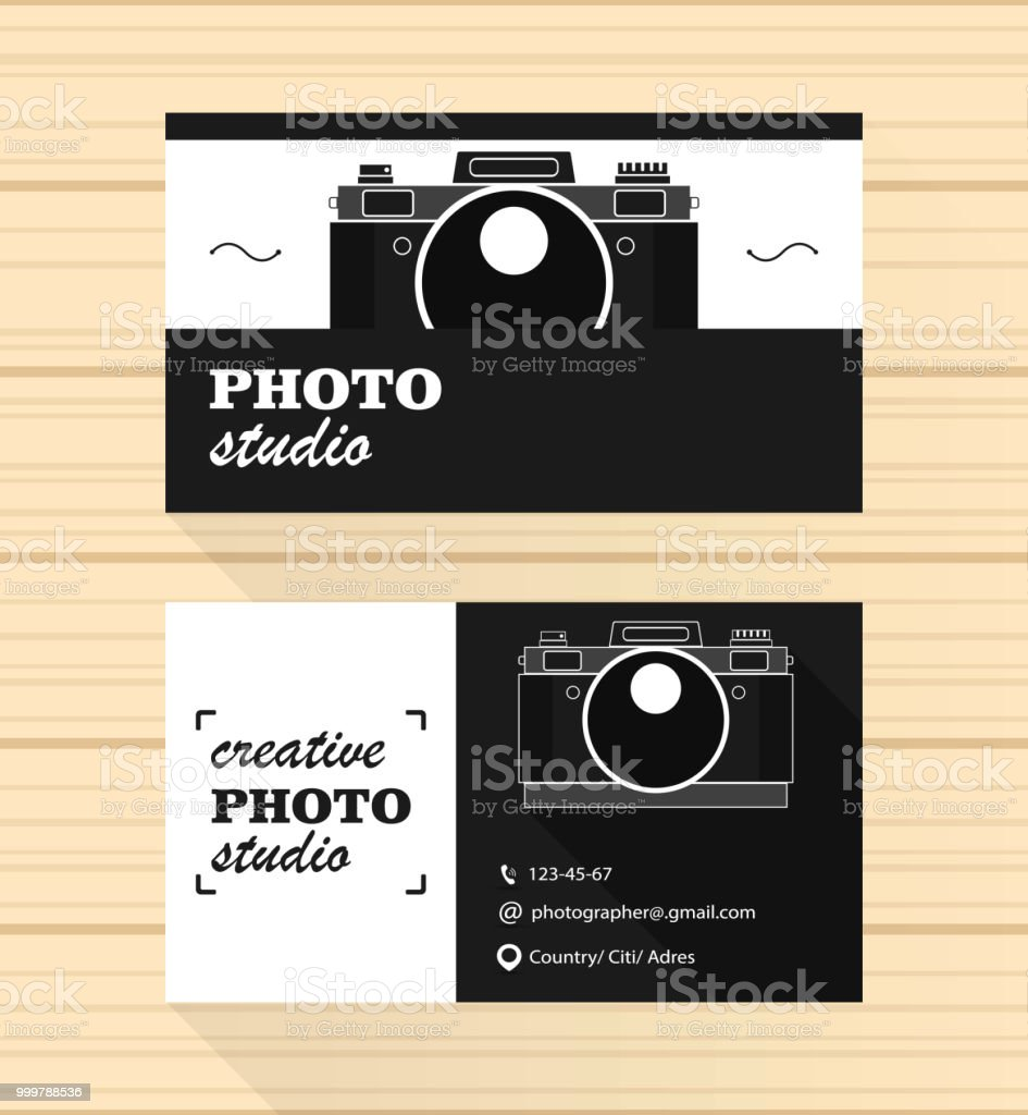 Fotografkarte Und Visitenkarte Vektordesign Stock Vektor Art