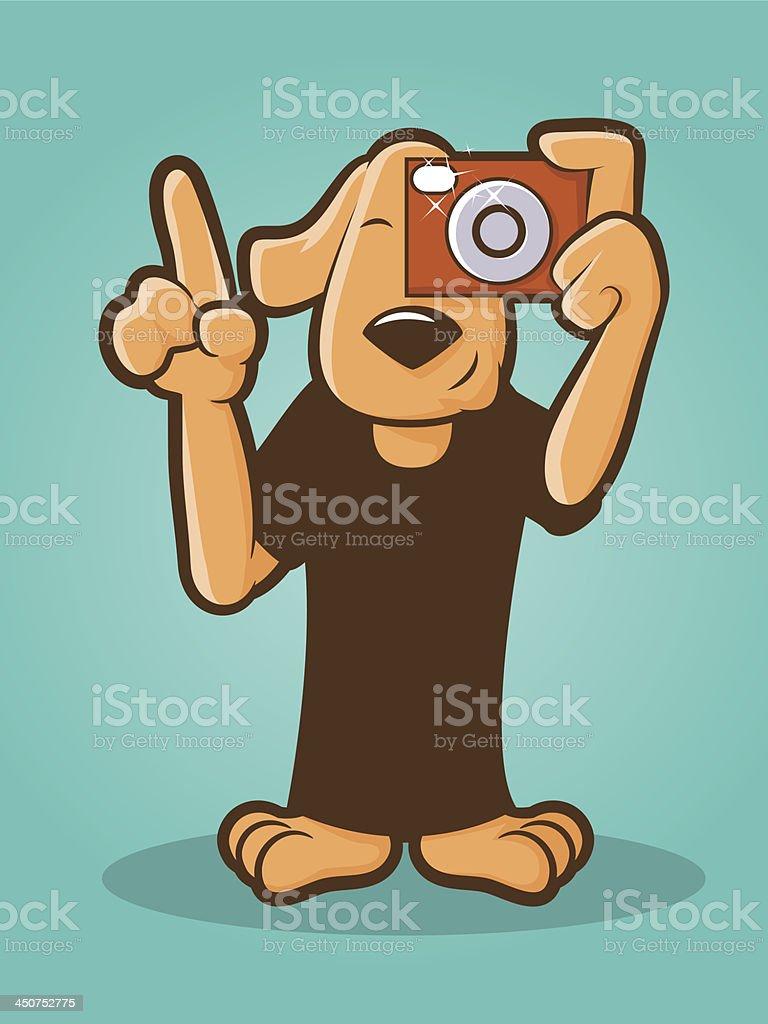 Photographer Dog vector art illustration