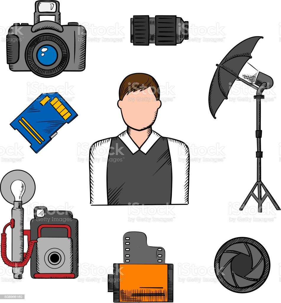 Photographer, equipment and items icons vector art illustration