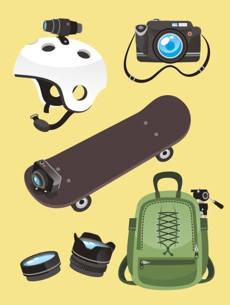 stockillustraties, clipart, cartoons en iconen met photographer equipment set helmet camera skate go pro lens backpack - gopro