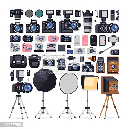 Big set of photographer equipments icons in flat style. Isolated on white background. Clipping paths included.