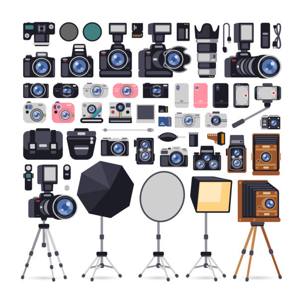 photographer equipments icons in flat style - aparat fotograficzny stock illustrations