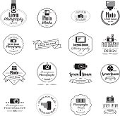 A set of a filmmaker and photographer emblems, logos and badges. Isolated on white. All design elements are layered and grouped. Eps8.