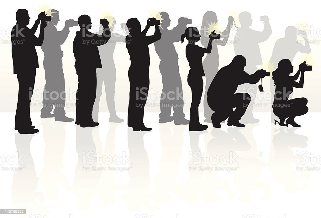 photographer group silhouettes vector art illustration paparazzi