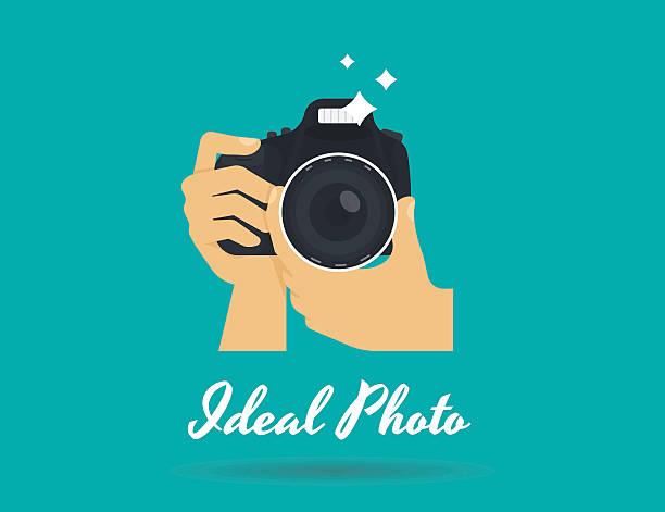fotograf ręce z kamery ilustracja płaskie ikony lub logo dla - fotografika stock illustrations