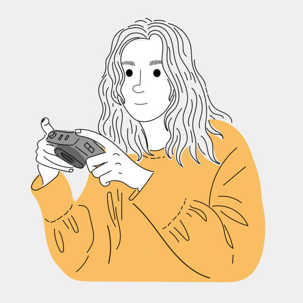 Photographer holding a camera while waiting for his friends.Doodle art concept,illustration painting vector art illustration