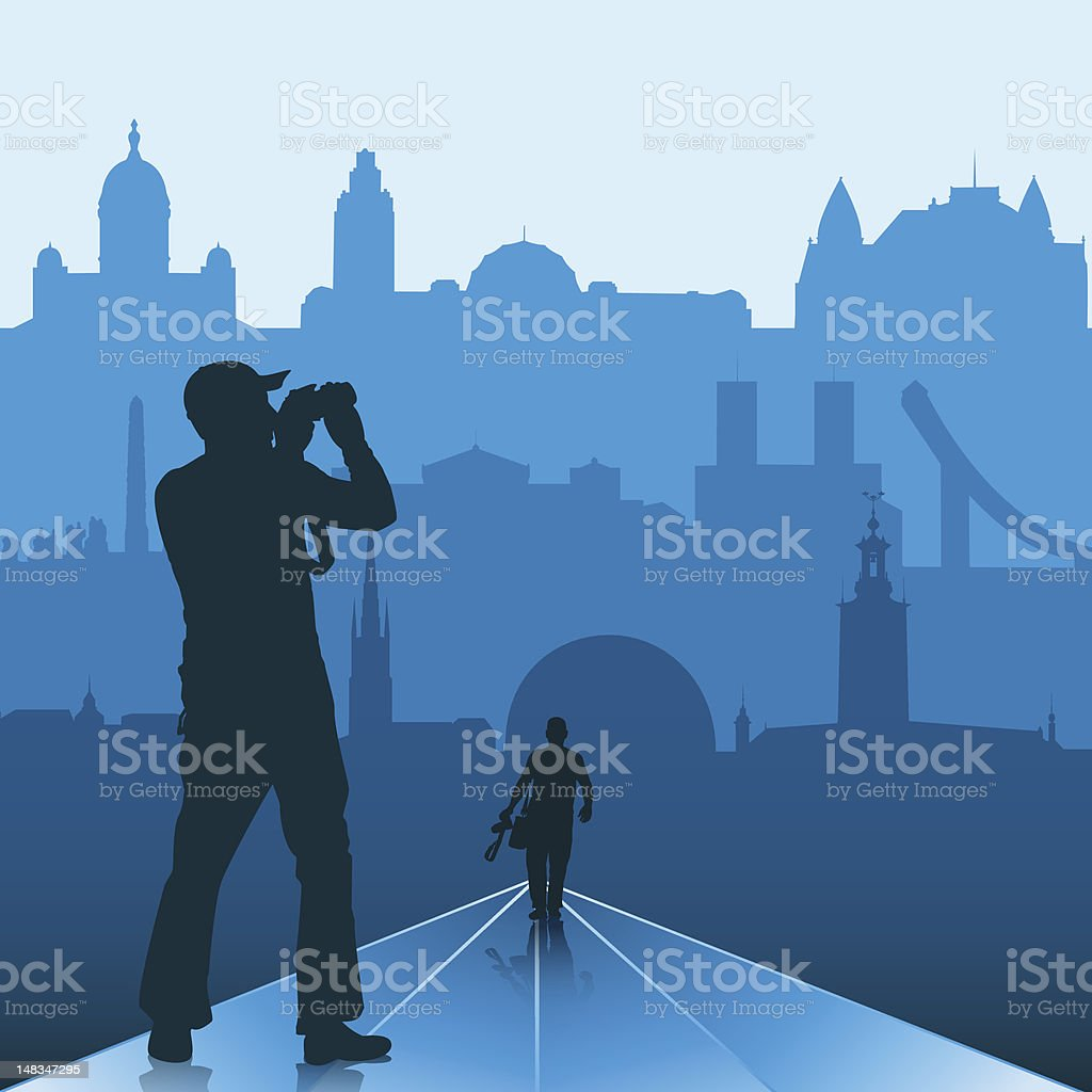 Photographer in big city royalty-free stock vector art