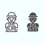 Photographer line and solid icon. Person who make photos vector illustration isolated on white. Photographer with camera outline style design, designed for web and app. Eps 10