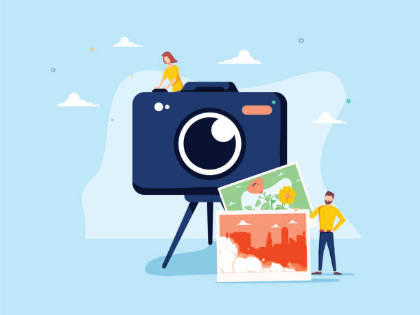 Fotograf besetzen Vektorillustration. Wohnung winzige Kamera Bild Person Konzept. Professioneller Digitalfilm – Vektorgrafik