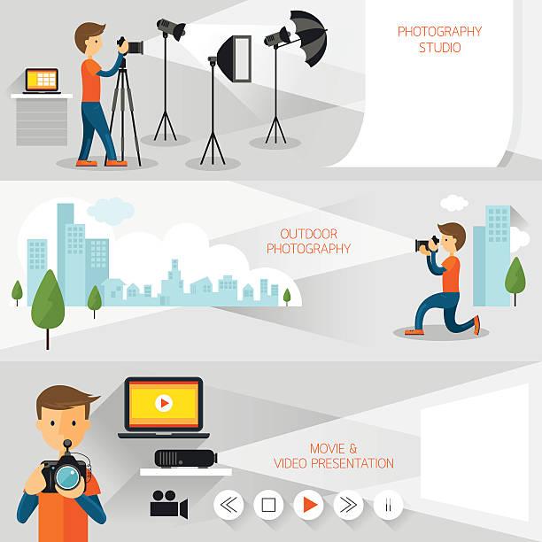 포토그래퍼, 사진학 컨셉입니다 배너입니다 - 사진 촬영 이미지 캡처 stock illustrations