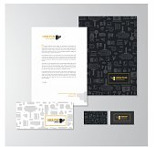 Stationery design for a photographer. Letterhead, folder, envelope and business card with logo. All design elements are layered and grouped. Eps10, contains transparent objects.