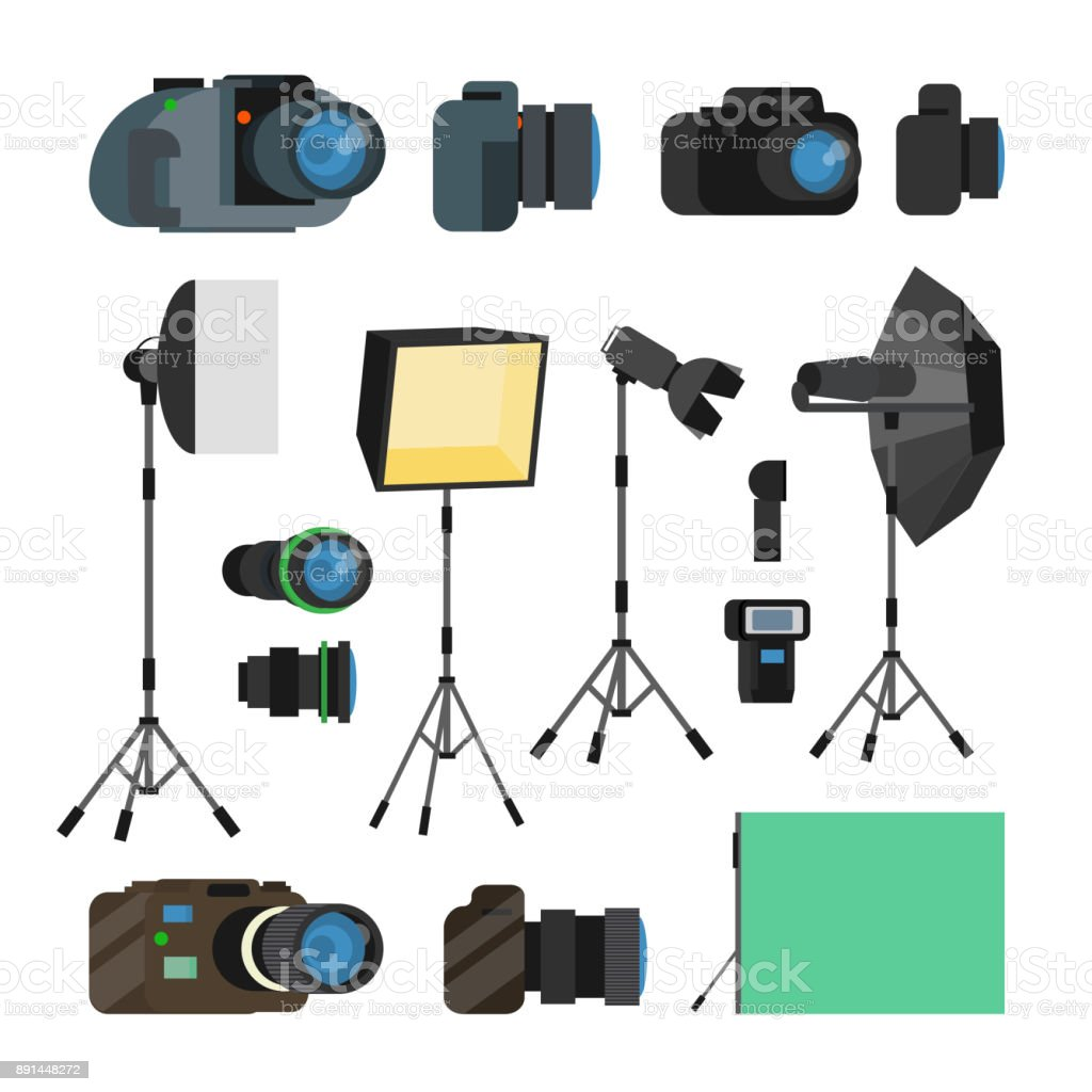 Photographer Tools Set Vector. Photography Objects. Photo Equipment Design Elements, Accessories. Modern Digital Cameras, Tools For Professional Studio Photography. Isolated Flat Cartoon Illustration vector art illustration