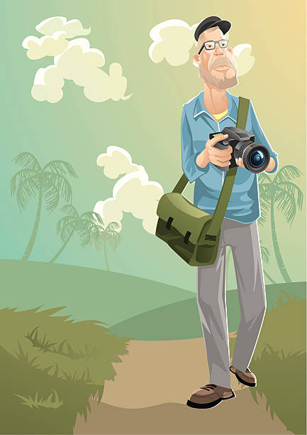 photographer - old man illustration pictures stock illustrations, clip art, cartoons, & icons