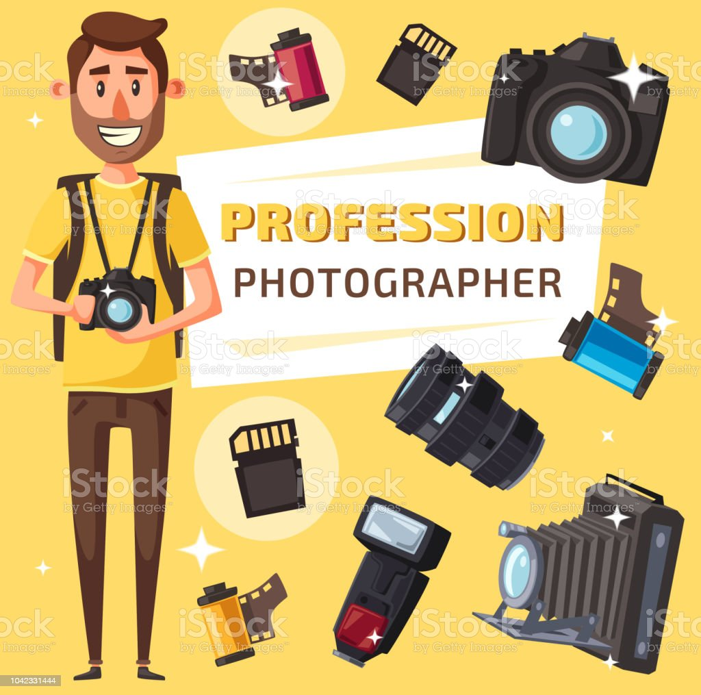 Photographer With Photo Items And Camera Stock Illustration - Download  Image Now
