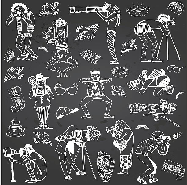 photographers collection. characters hand-drawn isolated on gray chalkboard. - old man illustration pictures stock illustrations, clip art, cartoons, & icons