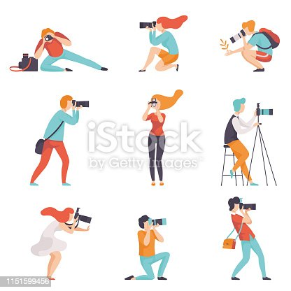 Photographers Taking Photos Using Professional Equipment Set, Men and Women with Cameras Making Pictures Vector Illustration on White Background.