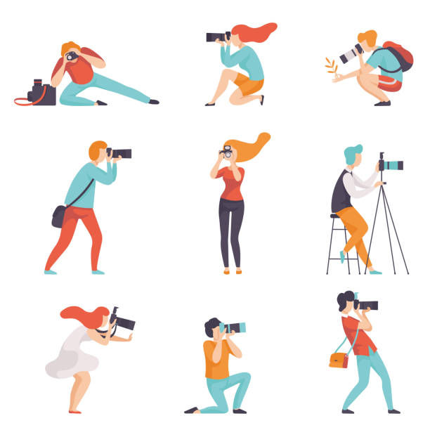 전문 장비 세트를 사용 하 여 사진을 찍는 사진 작가, 남자와 여자, 카메라를 만드는 사진 벡터 일러스트 레이 션 - 사진 테마 stock illustrations
