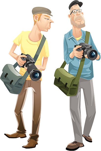 photographers - old man pic cartoons stock illustrations, clip art, cartoons, & icons