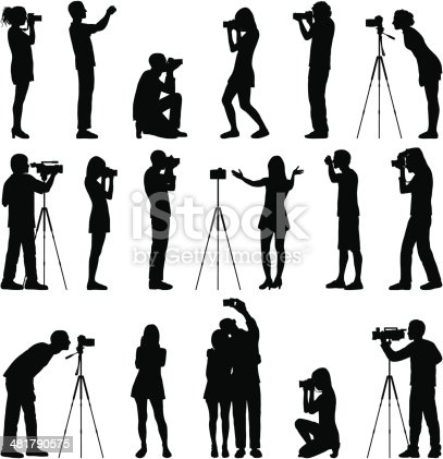 Highly detailed silhouettes of photographers.