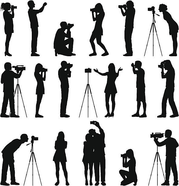 fotografowie - fotografika stock illustrations