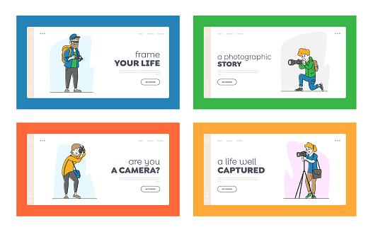 Photographers with Photo Camera Landing Page Template Set. Creative Profession or Occupation. Characters Take Shot