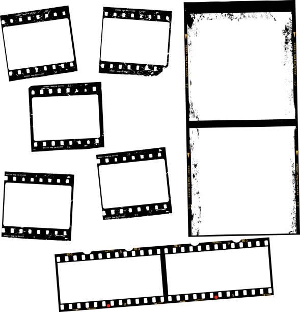illustrations, cliparts, dessins animés et icônes de film photographique, bandes de film, différents formats, negativs, cadres photo, copie gratuite espace, vector - type d'image