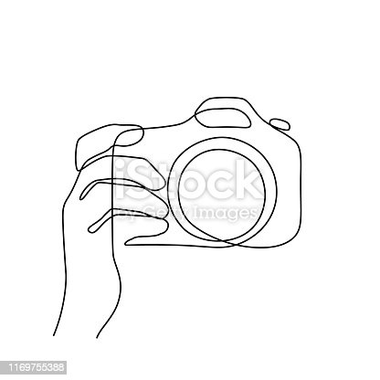 Taking pictures with photo camera. Continuous line art drawing. Minimalistic black line sketch on white background. Vector illustration