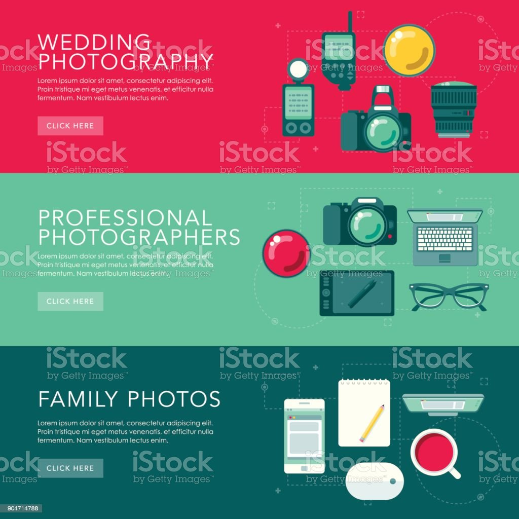 Photographty Flat Design Web Banners Set vector art illustration