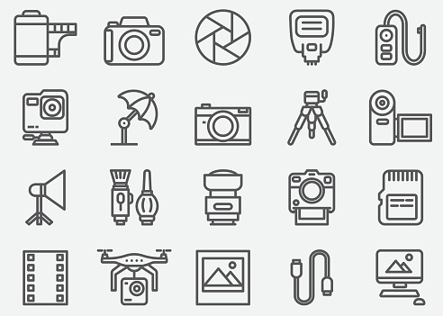 Photography and Camera Accessories Line Icons