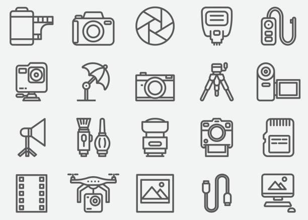 fotografie und kamera-zubehör-linie-icons - fotografische themen stock-grafiken, -clipart, -cartoons und -symbole